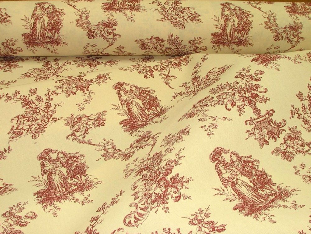 Red Amp Natural Cream Linen Look Toile De Jouy Curtain Upholstery Fabric